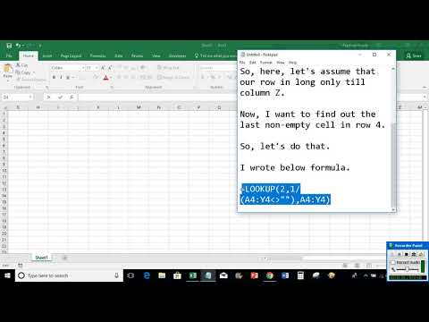 Excel: Find last non empty cell in a row