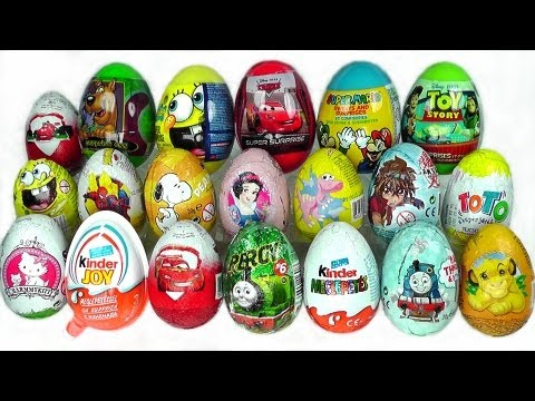 20 Surprise Eggs Zaini Cars 2 Kinder Surprise Spongebob Kinder Joy