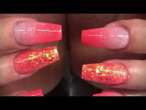 Acrylic nails - coral design set