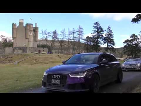 The CannonBawz Run North East 250 charity rally arrives at Braemar Castle in Scotland