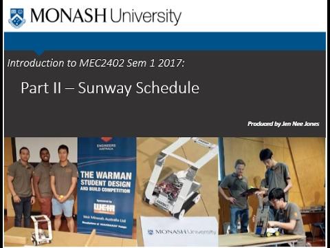 Introduction to MEC2402 Sem 1 2017   Part II   Schedule