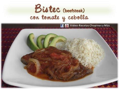 Receta Bistec con Tomate y Cebolla