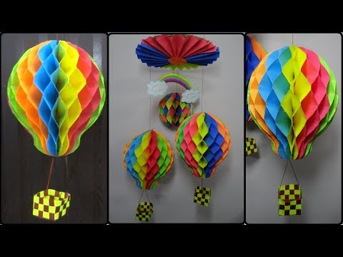 Paper Crafts: How to make Honeycomb Ball/Hot Air Balloon | DIY Home Decoration Ideas