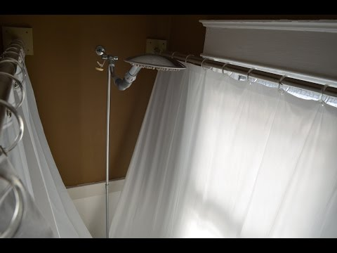 Clawfoot tub shower curtain improvement | Increase room in claw foot shower