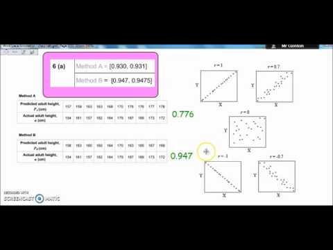 PMCC (correlation coefficient) AQA Level 3 Core Maths (Mathematical Studies)