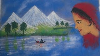 How To Draw Scenery Rangoli Design By Using Different Color