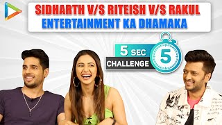 TSUNAMI OF LAUGHTER: Riteish, Sidharth & Rakul's CRAZIEST 5 Second Challenge | Anushka | Priyanka