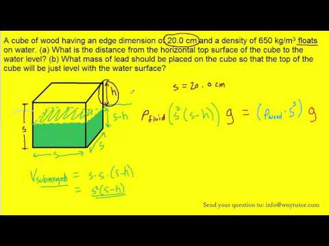 A cube of wood having an edge dimension of 20.0 cm and a density of 650 kg/m3 floats on water. (a) W