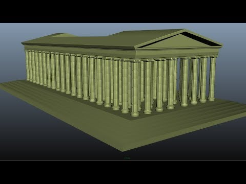 How to make a simple 3d model of an Ancient Greek Temple with columns (Autodesk Maya Tutorial)