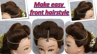 Diy Easy Front Hairstyle With Mang Tikka And Hair Accessories Step