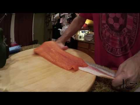 Removing salmon skin with your hand...no knife
