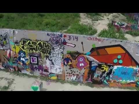 Quadrocopter Drone Flight - Graffiti Castle Hill