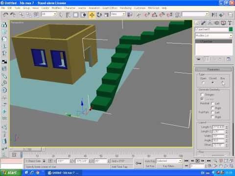 3ds max 7 basics  about doors, windows walls AEC objects lecture 7 in Urdu/Hindi