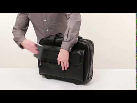Amazon com   SOLO Premium Leather Rolling 15 6  Laptop Case, Black, D957 4   Briefcases