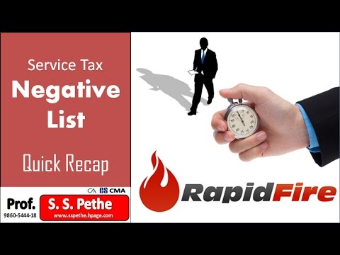 Short Recap of Service Tax Negative List