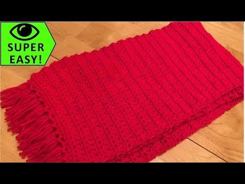 Classic Single Crochet Scarf  - Super Easy!