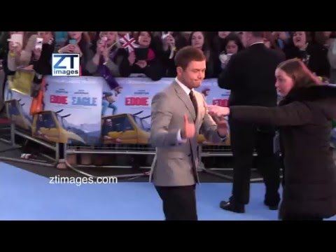 Taron Egerton at the film premiere Eddie the Eagle in London, UK