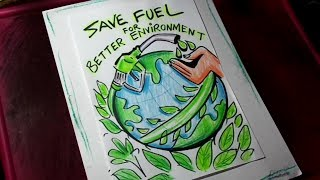 Save Fuel Coloring Drawing For Beginners Step By Step Save Fuel