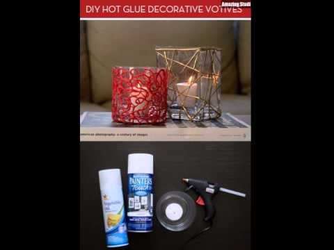DIY Colorful Votive Candles with Hot Glue