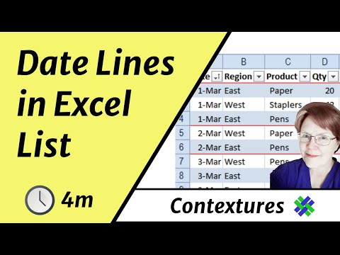 Separate Dates in Excel List With Lines