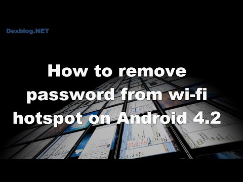 How to remove password from wi-fi hotspot on Android 4.2