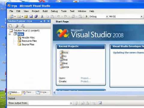 new project C++ (Microsoft visual studio 2008)