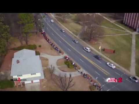 DRONE VIEW: NC A&T Students Walk To Remember The Greensboro Four