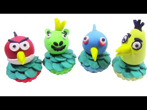 How To Make Angry Birds Cupcakes With PlayDoh Sparkle - DIY PlayDoh Cupcakes Videos For Kids