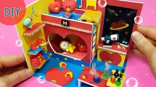 Diy miniature dollhouse room BTS & BT21 - TaTa Room decor  !  Bts 타타방 만들기
