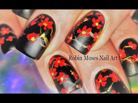 Red and Black Flower Nails Design   Watch this simple Cherry Blossom Nail Art Tutorial