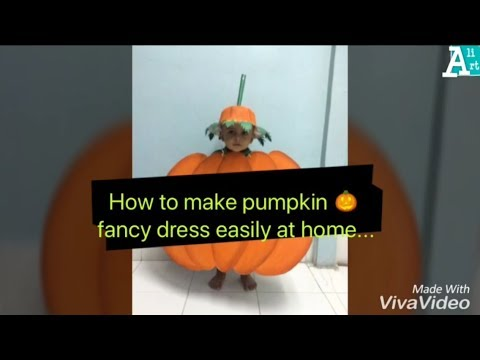 Pumpkin fancy dress for kids  how to make pumpkin fancy dress at home easily   Fancy dress