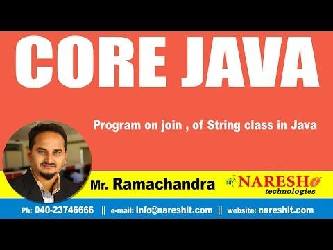Core Java Tutorials | Program on join , of String class in Java | Mr.Ramachandra