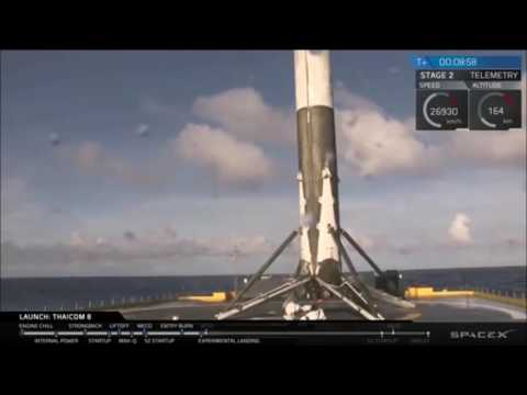 Spacex Falcon 9 Land on Barge At Sea 27th May 2016 Thaicom 8 Satellite