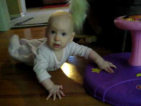 Josephine crawling on slippery wood floor
