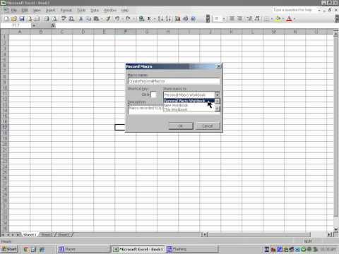 Excel 2003 Create Personal Macros