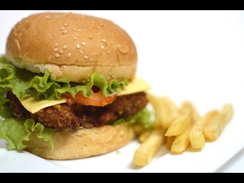 Chicken Burger Recipe   Fried Chicken Burger Recipe