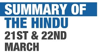 Summary of The Hindu - March 21 & 22 (Militancy in India, Aadhar, etc.) [UPSC/IAS, SSC CGL]