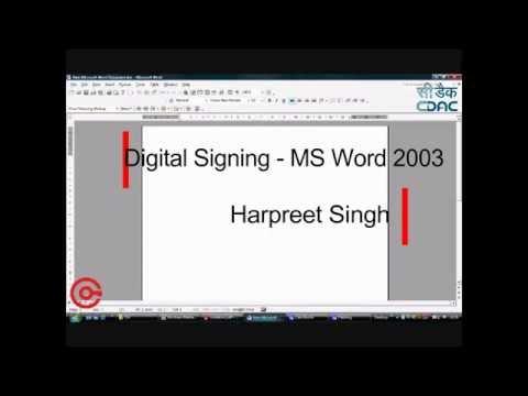 Digital Signing in Microsoft Word 2003
