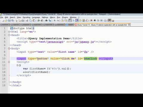 JQuery Tutorial 16 - JQuery ID selector with an example
