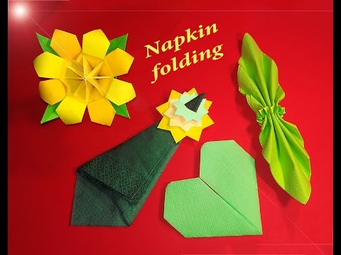 Napking folding easy - 4 Best ideas for Christmas table decoration (heart, butterfly and tree)