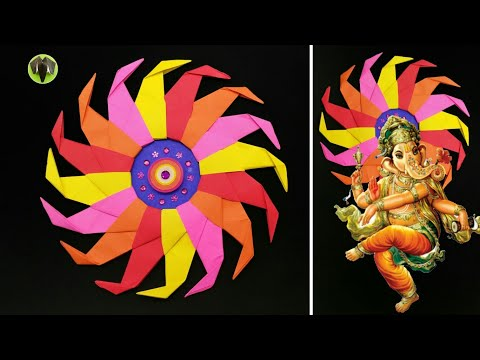 Sun Star Backdrop Decoration for Ganesha Chathurti - DIY | Tutorial | Ganapathi | How to make - 784