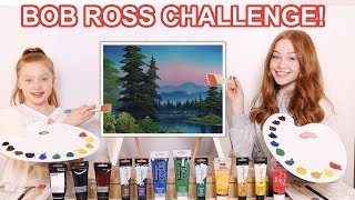 WE TRIED FOLLOWING A BOB ROSS PAINTING TUTORIAL *Epic Art Challenge  | Sis Vs Sis | Ruby and Raylee