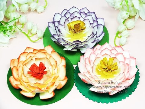 How to make a beautiful WATERLILY FLOWER - SandraR Stampin' Up! Demonstrator Independent
