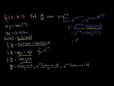Section 3.5 - Exercise 10 - How to find the derivative of a variable base exponential function