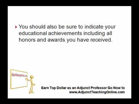 Resume Sample of a College Professor