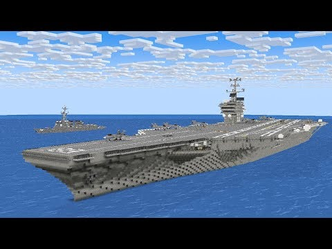 Minecraft Aircraft Carrier Launch F/A-18 Fighter Jet Animation