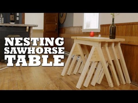 DIY Nesting Sawhorse Table