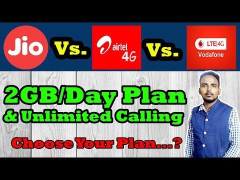 Reliance Jio vs Bharti Airtel vs Vodafone : The Best 2GB Data Per Day Plans & Unlimited Calling