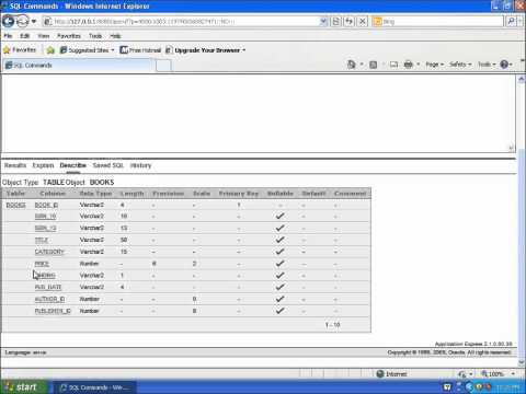SQL with Oracle 10g XE - Using DESCRIBE to View the Table Structure