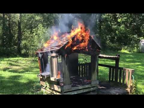 Burning funhouse our old playhouse